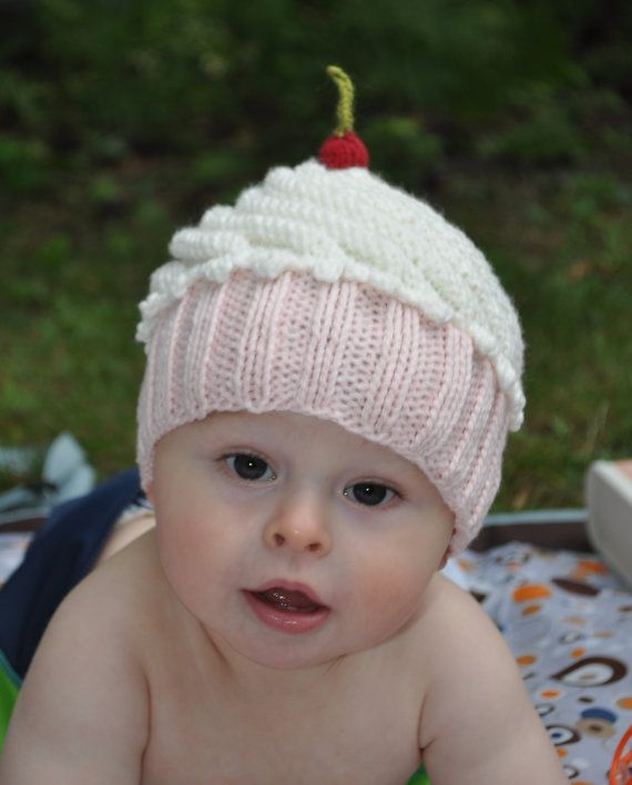 Knitted Cupcake Hat Pattern : Cute as a Cupcake Hat PDF Knitting Pattern for Newborn, baby, and child cupca...