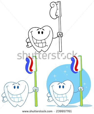 Tooth Cartoon Mascot Character 2. Vector Collection Set