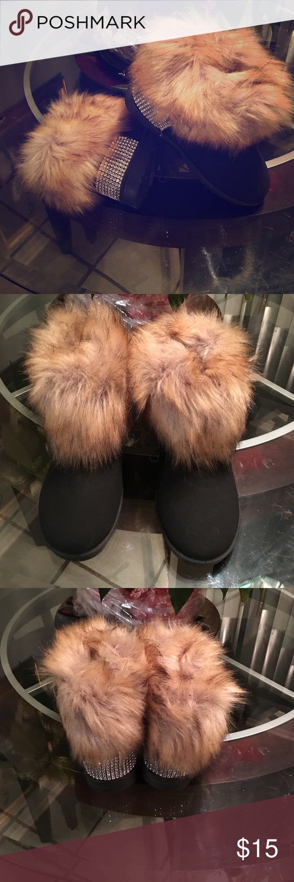 Fur Ankle Booties Black and fur..rhinestone heel. Never worn. YJL Sport Shoes Ankle Boots & Booties