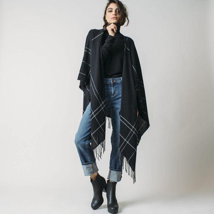 ankle boots, boyfriend jeans, funnel neck cashmere top, wool serape - Eileen Fisher