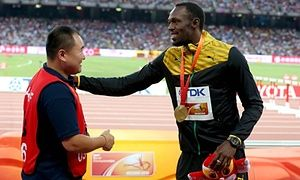 Segway cameraman who floored Usain Bolt says he is ready to get back to work • Song Tao reveals he apologised to Bolt for mishap at world championships • Bolt had jokingly accused Gatlin of paying cameraman to clean him out