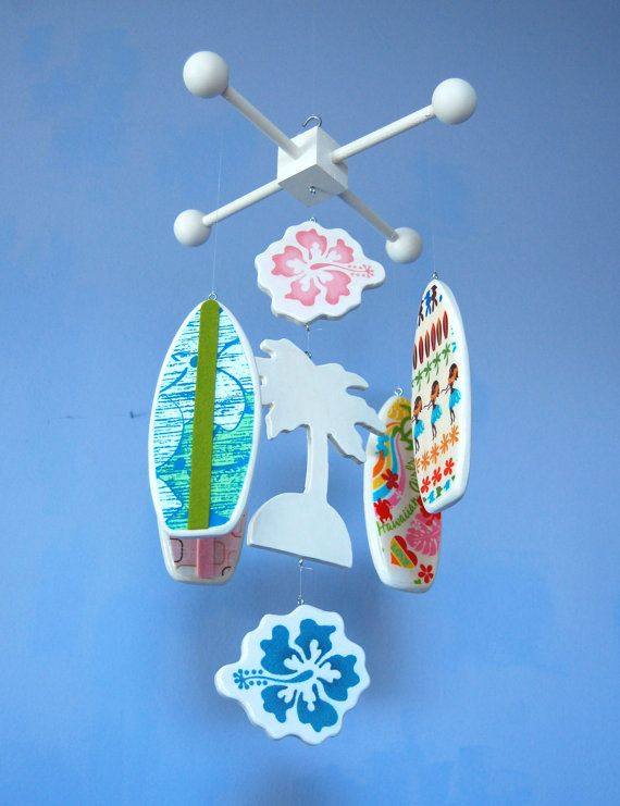 Tropical wooden baby mobile with surfboards, palm tree and hibiscus flowers for a little surfer girl's nursery by FlyingTrees