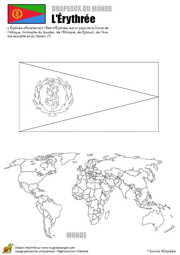 Coloriage du drapeau de Érythrée et de la carte montrant sa position géographique