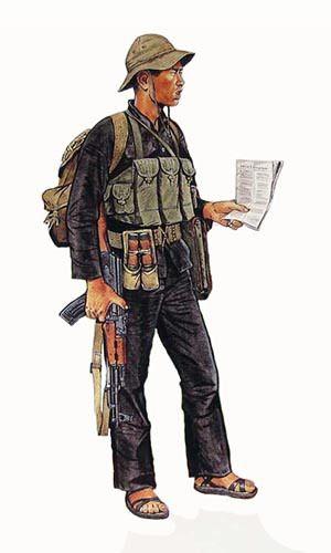 Soldado Viet Cong, fuerzas locales, 1969.