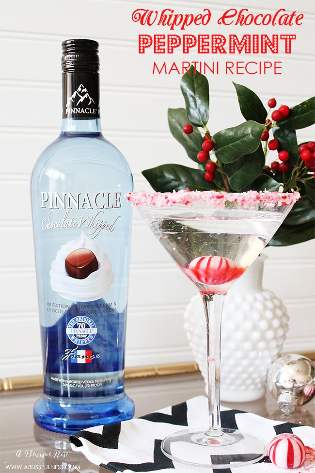 A delicious Whipped Chocolate Peppermint Martini Recipe that is simple and perfect for your holiday party!