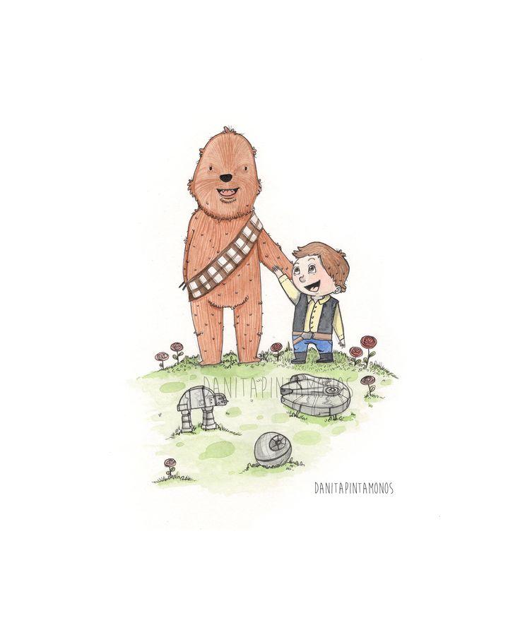 "Consulta mi proyecto @Behance: ""Han and Chewie."" #Starwars #Chewbacca #Chewie #Hansolo https://www.behance.net/gallery/45234507/Han-and-Chewie"