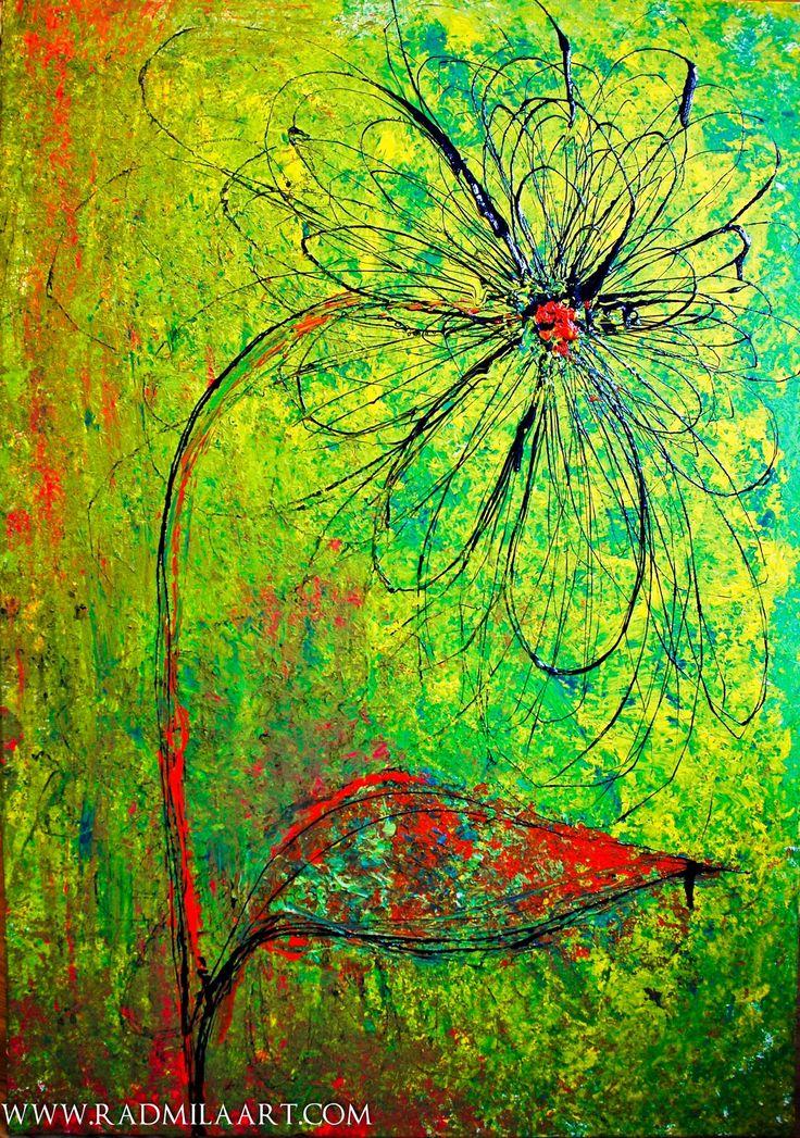 Abstract floral acrylic painting, 70*100 cm, ''Yellow''. Artist - Radmila Filimonova