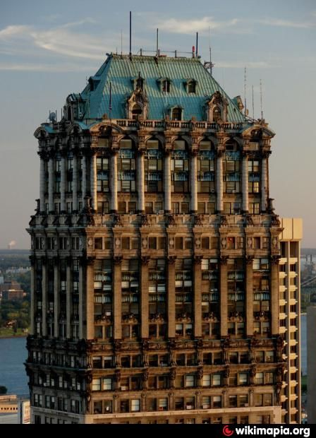 abandoned Book Tower and Book Building, historic district of Detroit, Michigan - built in the Academic Classicism style in 1916