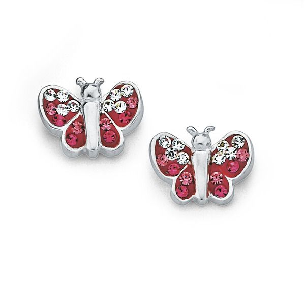 Silver Pink Crystal Butterfly Studs