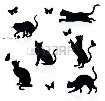 Silhouettes de chats avec papillons. Banque d'images - 6219835