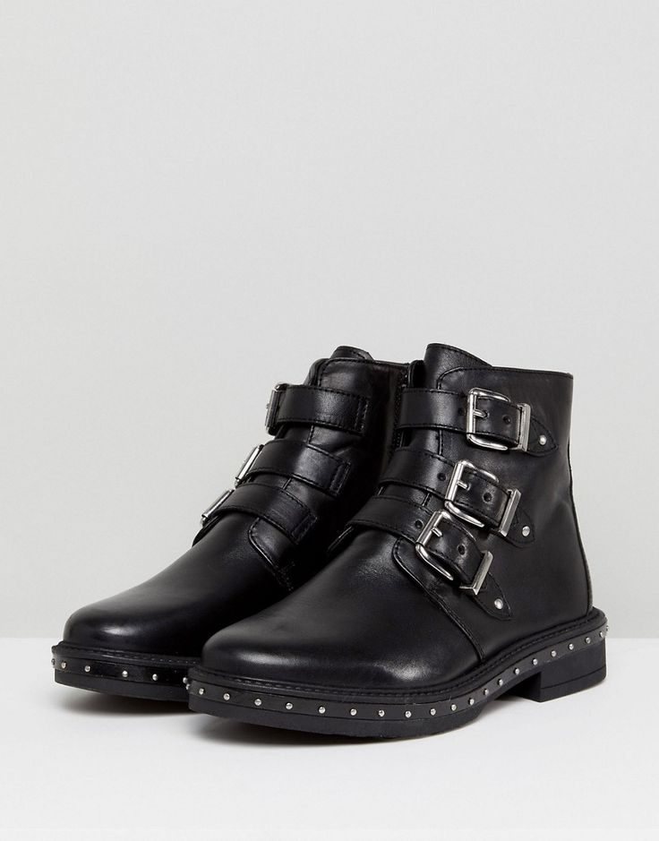 Steve Madden Matika Studded Leather Buckle Ankle Boots - Black