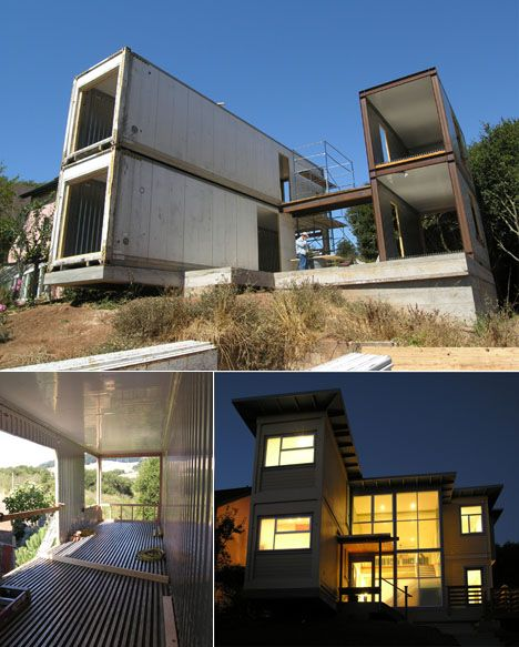 Home made of shipping containers.