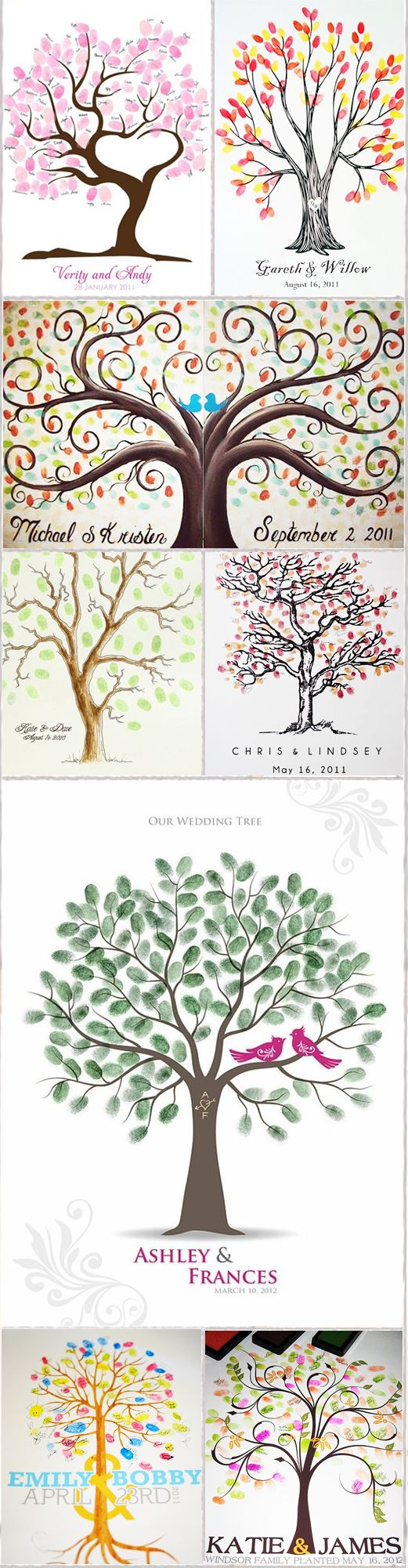 Wedding Tree~The leaves are made of fingerprints from each guest at the wedding!  I saw one of these framed & matted after wedding and it was amazing