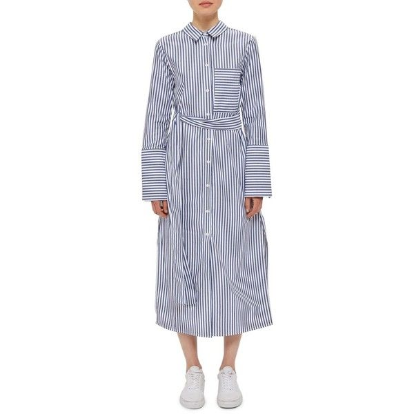 Women's Topshop Boutique Stripe Shirtdress (7.930 RUB) ❤ liked on Polyvore featuring dresses, blue multi, cotton shirt dress, cotton dress, striped t-shirt dresses, cotton midi dress and blue shirt dress