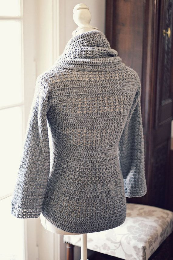 Crochet PATTERN (pdf file) - Ladies' Shrug - Cardigan If I get good enough I know who will get this for Christmas!