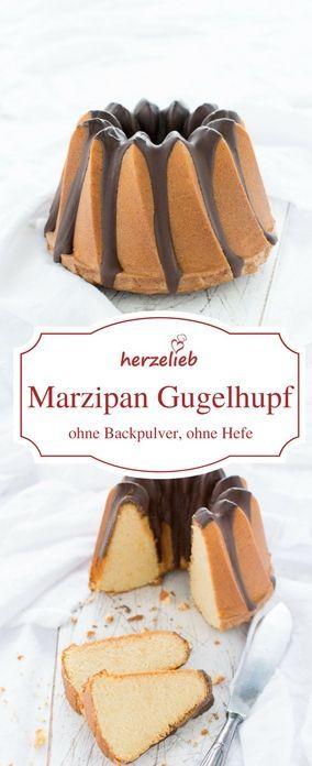 Kuchen Rezepte: Saftiger Marzipan-Gugelhupf, der ganzz schnell gebacken ist. Ohne Hefe und ohne Backpulver, aber mit viel Marzipan. Rezept von herzelieb  #kuchen #Marzipan #hefefrei #backen #foodblog #deutsch