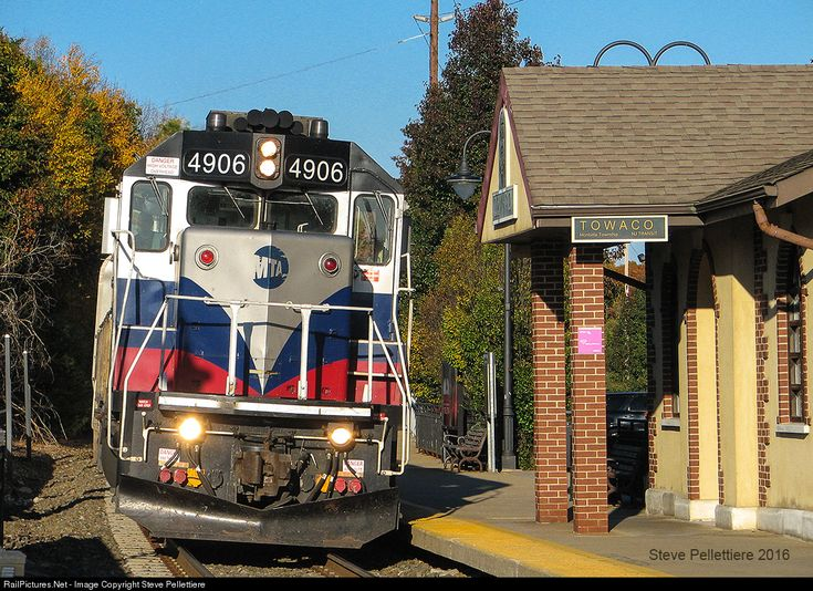The only Metro North GP40PH-2 is about to make a station stop at Towaco before heading to the final destination in Denville on NUTs Montclair Boonton Line.