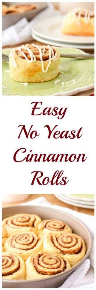 Easy No Yeast Cinnamon Rolls-A fluffy, gooey homemade from scratch cinnamon roll with a cream cheese glaze.