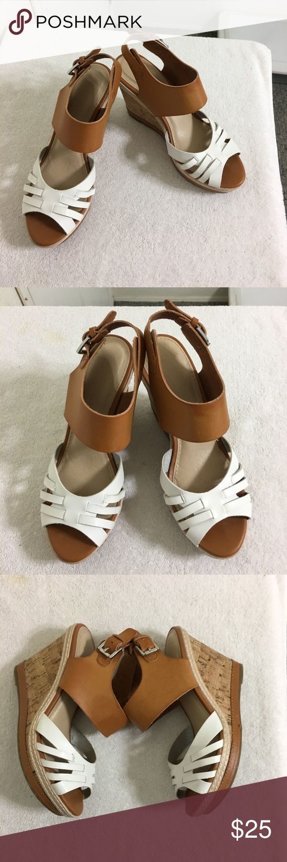 "Versona White & Tan Wedge Sandals Cork Heels 7 Super cute & versatile Versona White & Tan Wedge Sandals.  3"" Heel, 1"" Platform.  Used in very good condition, only worn a few times (Reposh due to heel is just too high for me these days).  These could go with just about anything! Versona Shoes Wedges"