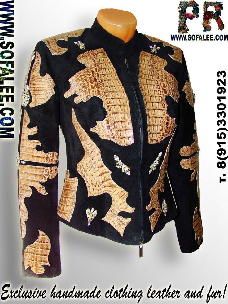 """Женская куртка из кожи крокодила """"Диктатор""""со стразами сваровски."""