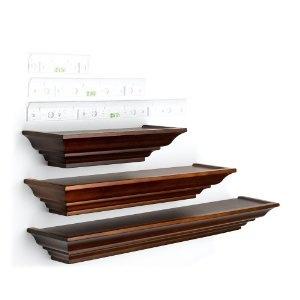 Burnes Of Boston LL2931 Level Line Walnut 3 Piece Ledge Set. Floating Wall  ShelvesSmall Wall ShelfWooden Wall ShelvesSmall ...