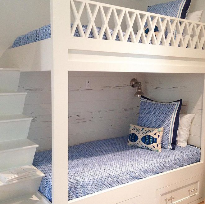 Bunk Bed Railing. Bunk Bed Railing Design. Bunk room with custom bunk beds with x railing, built in ladder and pecky cypress shiplap wall pa...