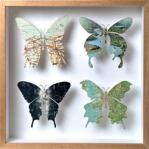 бабочки из географических карт