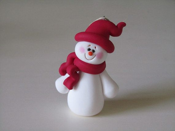 Polymer Clay Christmas Snowman Ornament by ClayPeeps on Etsy