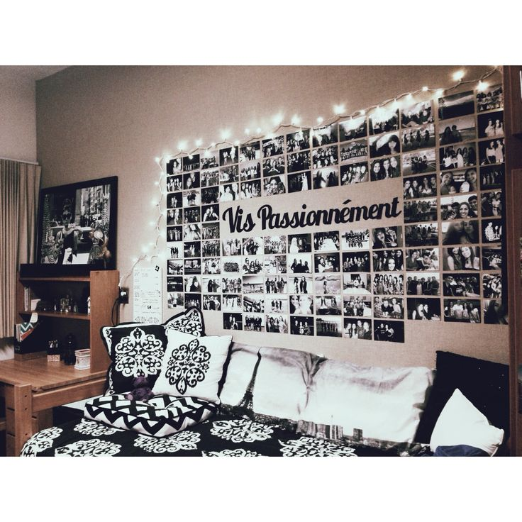[Dorm Room]. B&W Photos/Text on a tall neutral headboard with B&W Graphic/Scroll design bedding.