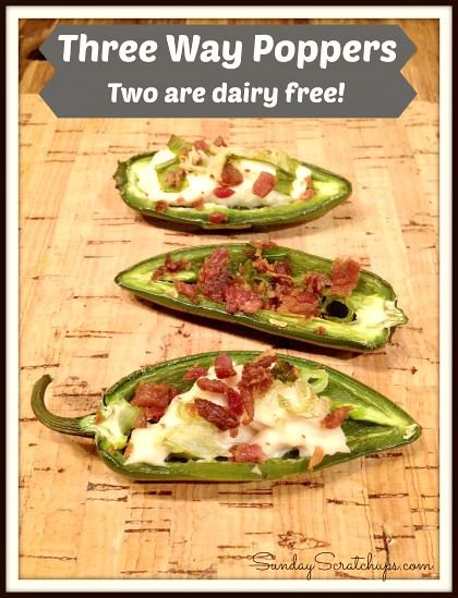 Three ways to cook Jalapeno Poppers -- two are dairy free!