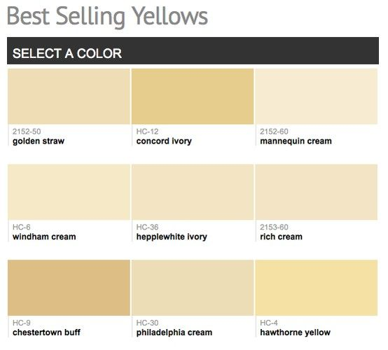 Best selling & popular shades of yellow & gold paint colors from Benjamin Moore.