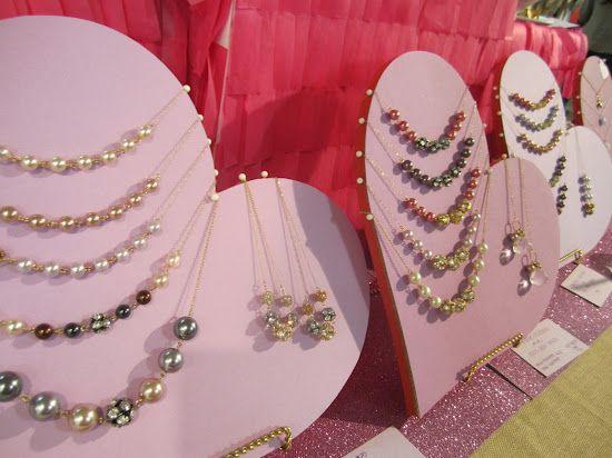 craft booth setup - sideways hearts!