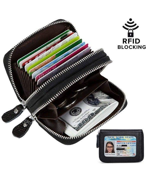 Men Women Genuine Leather Wallet RFID Bifold Zip Coin Purse Credit Card Holder