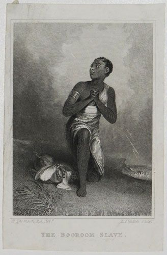"(via The Booroom Slave.)   The Booroom Slave. H. Thomson R.A. del / E. Finden sc.   [Pub. by R. Ackermann 1828.]   Steel engraving on india sheet 115 x 75mm (4 x 3""). Trimmed inside platemark losing publication line; creasing on top left.  Young slave kneeling in prayer from an 1827 painting by Henry Thomson. This print was published in the Forget Me Not of 1828 where it was accompanied by a short story The Booroom Slave by the Sarah Bowditch wife of African traveler Thomas Edward Bowditch…"