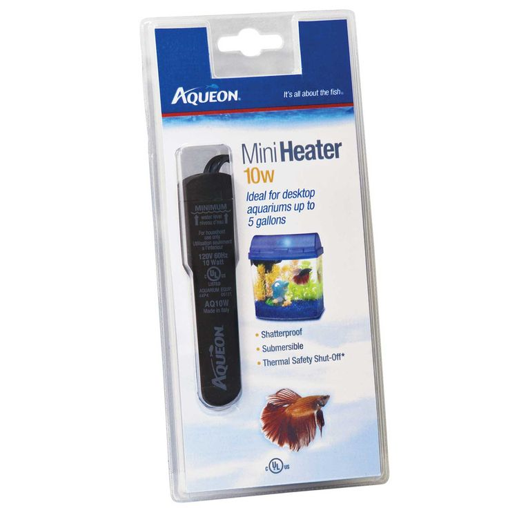 Aqueon+Submersible+Aquarium+Heater,+10W+-+Aqueon+Mini+Heater+is+an+ideal+for+desktop+aquariums+up+to+5+gallons.+This+heater+is+fully+submersible,+shatterproof+and+features+Thermal+Safety+Shut-Off+which+always+set+to+the+ideal+temperature. - http://www.petco.com/shop/en/petcostore/product/aqueon-submersible-aquarium-heater-10w
