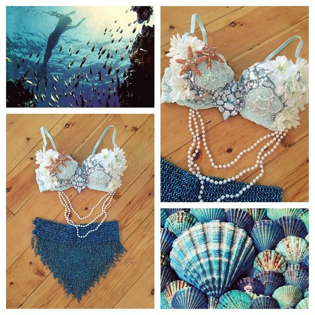 "421 Likes, 72 Comments - seagypsy couture (@seagypsycouture) on Instagram: ""Haven't stopped cranking out mermaid bras for Halloween!  to make a custom order or view premade…"""
