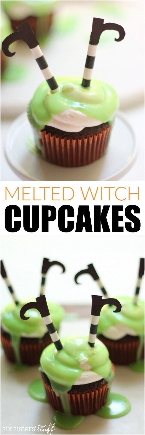 Melted Witch Cupcakes from SixSistersStuff.com | The perfect food for Halloween parties!