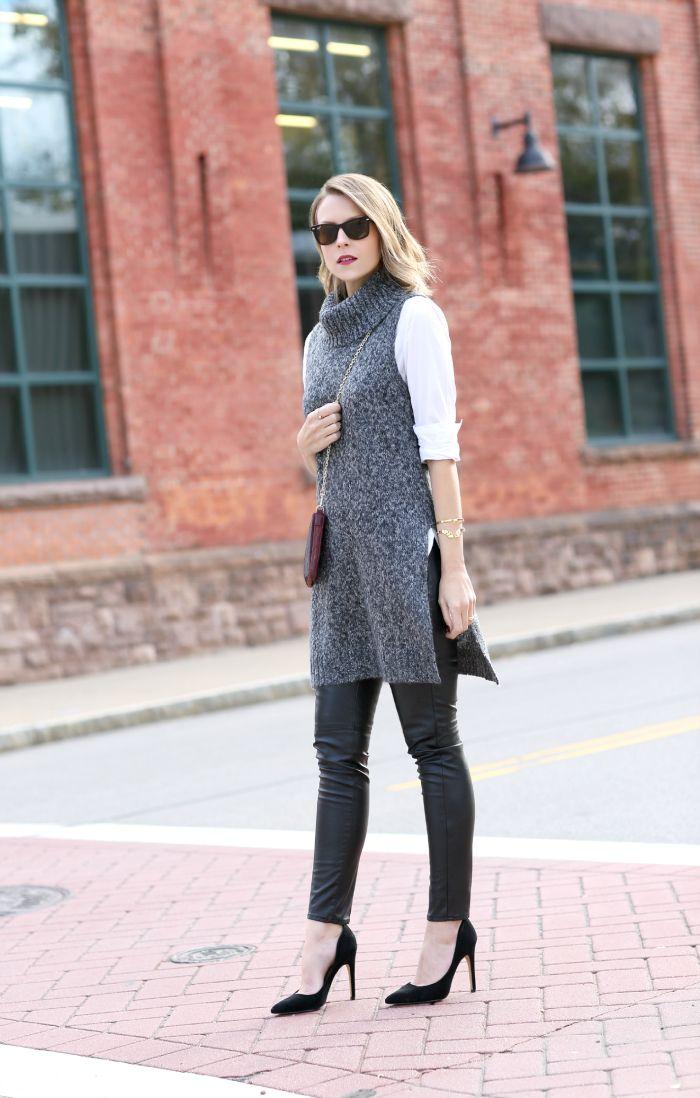 Long sleeveless tunic sweater