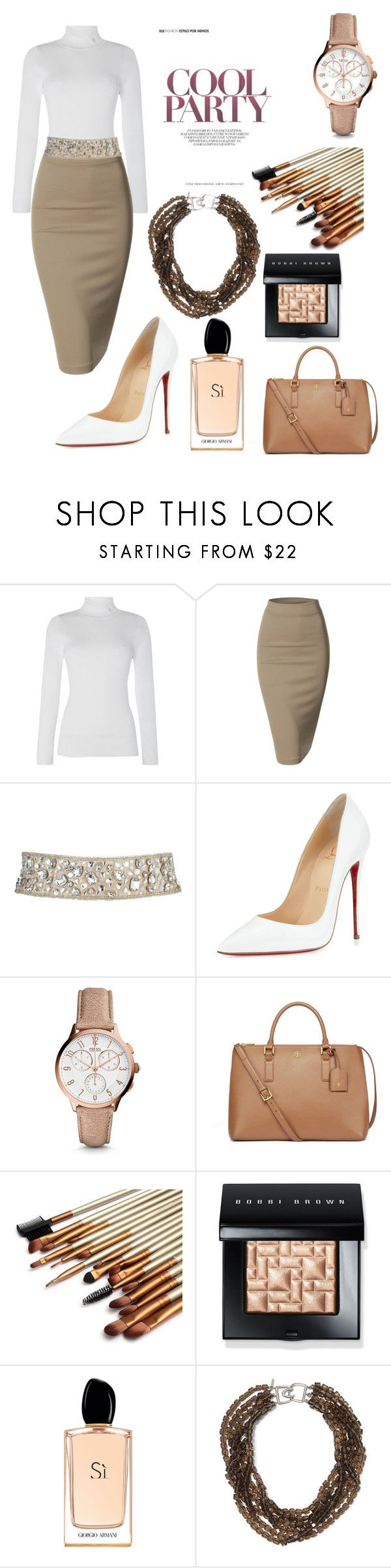 """""""Party Night"""" by hopepurple123 ❤ liked on Polyvore featuring Lauren Ralph Lauren, Doublju, Christian Louboutin, FOSSIL, Tory Burch, Bobbi Brown Cosmetics, Giorgio Armani, Kenneth Jay Lane, women's clothing and women"""