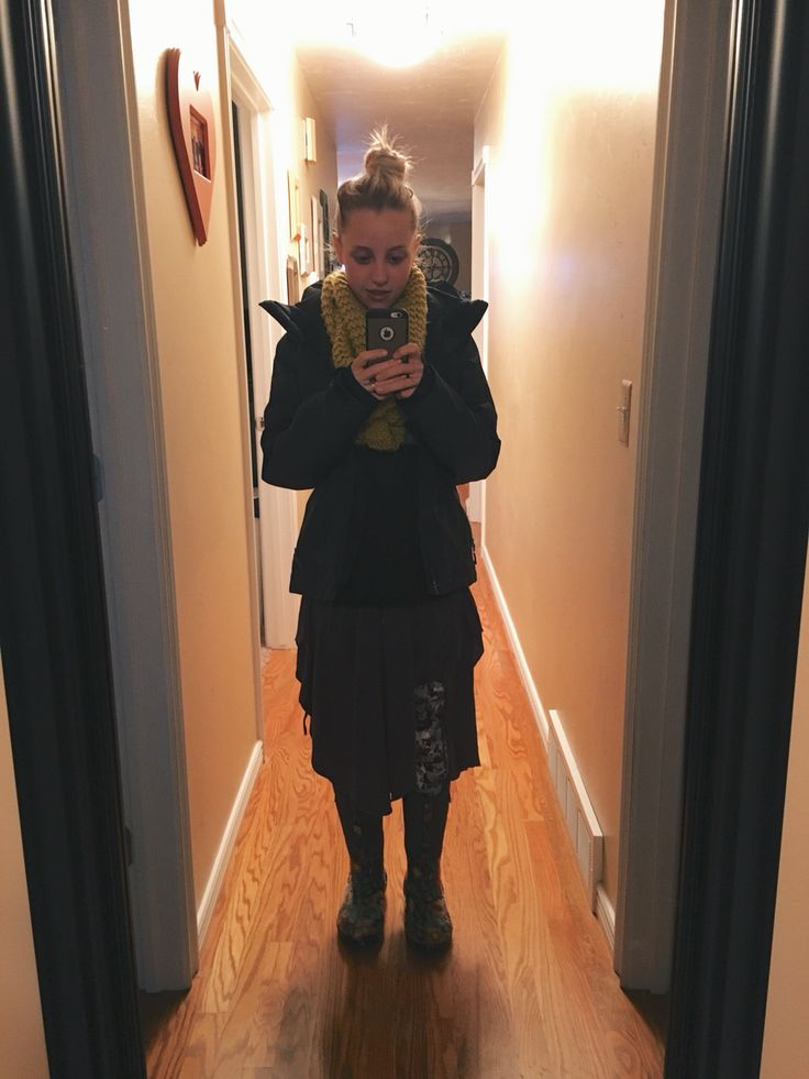 DRESSEMBER DAY 26: gray dress - free people    top - reebok    boots - bogs    athletic tights - reebok    scarf - forever 21    jacket - the north face