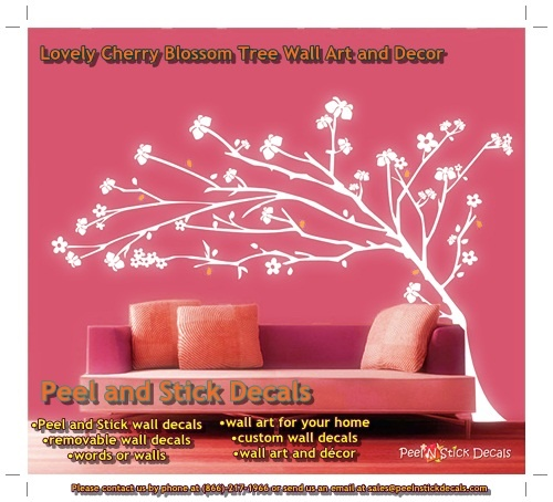 Lovely Cherry Blossom Tree Wall Art and Décor  http://peelnstickdecals.blogspot.com/2013/05/lovely-cherry-blossom-tree-wall-art-and.html