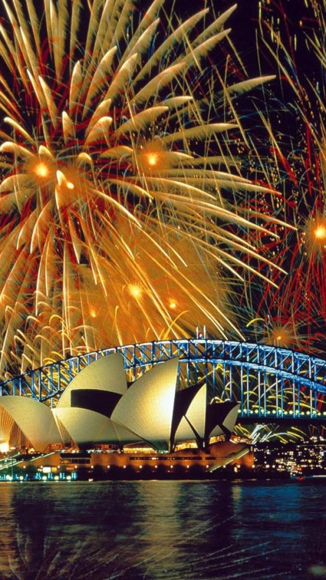Fireworks at the Opera House in Sydney, Australia
