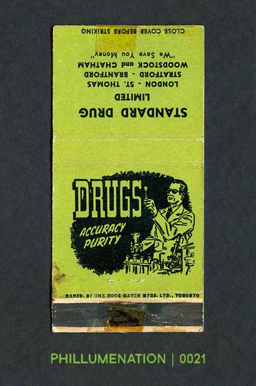 "#Phillumenation 0021 : Standard Drug Limited   ""We Save You Money""   London • St. Thomas • Stratford • Brantford • Woodstock • Chatham   Ontario, Canada"