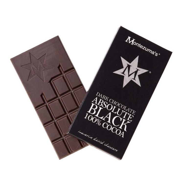 Vegan & Dairy Free High protein, low sugar and delicious taste? Must be Montezuma's Dark Chocolate Absolute Black - a 100% cocoa bar. Not for the faint-hearted!
