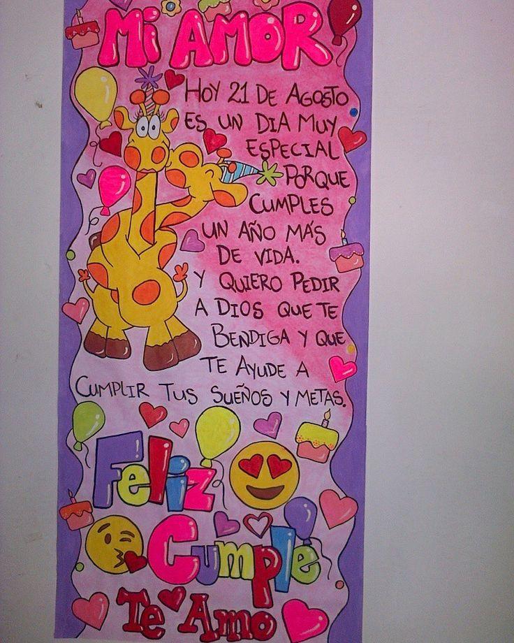 Pancarta tipo tarjeton  Contacto whatsapp: 04149758612  #pancartas #cumpleaños #tarjetas #sorpresa #amor #felizcumple