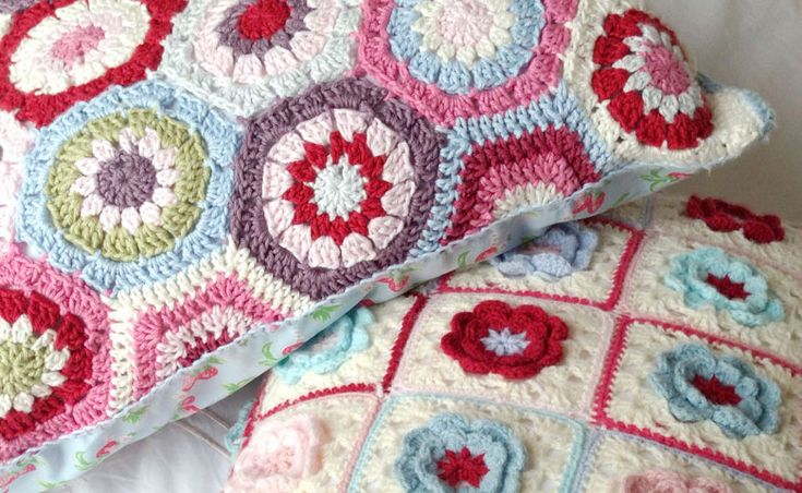Crochet floor cushions using Attic 24 hexagon pattern and Cath Kidston inspired colours