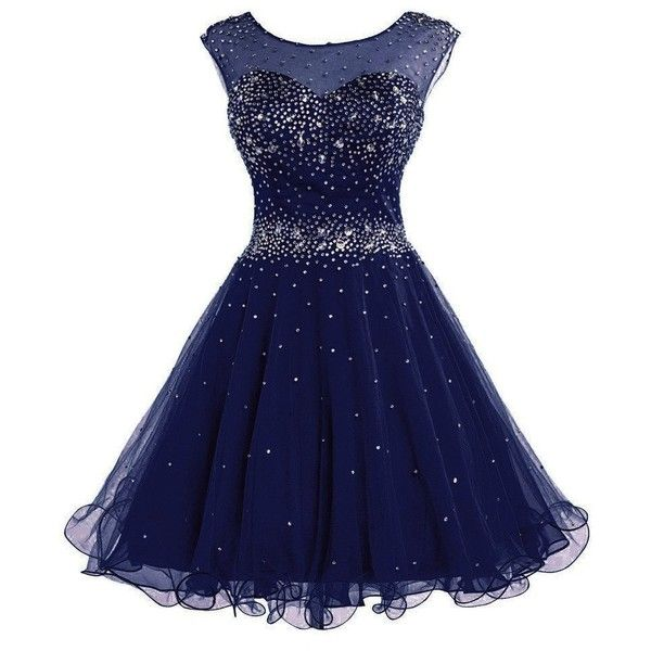 DianSheng Women's Short Tulle Beading Homecoming Dress Graduation... ($55) ❤ liked on Polyvore featuring dresses, gowns, short graduation dresses, blue ball gown, tulle gown, short homecoming dresses and blue evening gown
