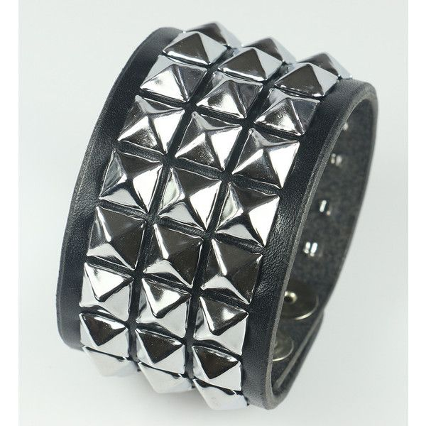 Three Row Pyramid Studded Leather Wrist Cuff Leatherpunk ($27) ❤ liked on Polyvore featuring jewelry, bracelets, cuff bangle, punk jewelry, punk rock jewelry, pyramid jewelry and cuff jewelry