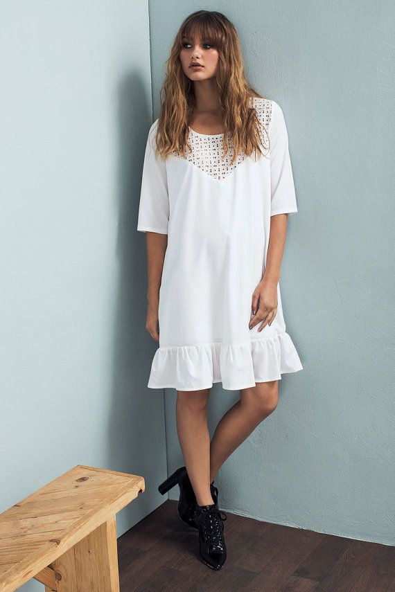 White dress - Loose fit dress - Embroidered dress - White Lace dress - Short…