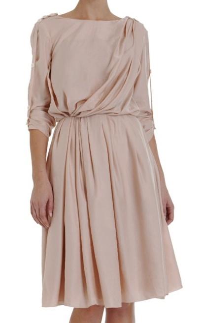 Cheap Fashionable Nina Ricci Woman Bead-embellished Ruffled-trimmed Silk Dress Brown Size 42 Nina Ricci Geniue Stockist Good Selling Sale Online eg5BJrrb5A